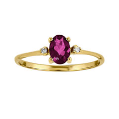 Genuine Pink Tourmaline Diamond-Accent 14K Yellow Gold Ring