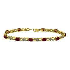 Lab-Created Ruby and Diamond-Accent Gold Over Silver Tennis Bracelet