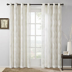 Madison Park Elin Ogee Jacquard Grommet-Top Curtain Panel