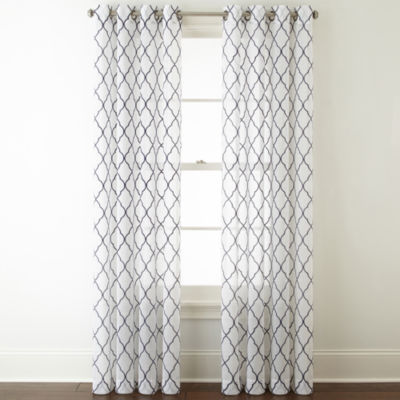 jcpenney home bayview embroidery sheer grommettop curtain panel - 63 Inch Curtains