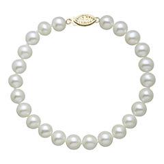 Womens White Pearl 14K Gold Beaded Bracelet