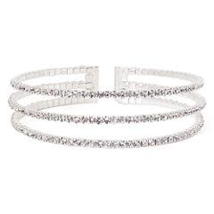 Vieste® Rhinestone 3-Row Silver-Tone Cuff Bracelet