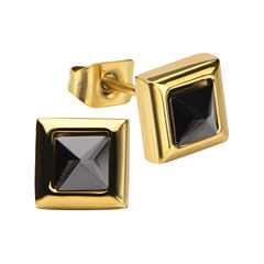 Stainless Steel And Yellow IP Black Square Crystal Stud Earrings