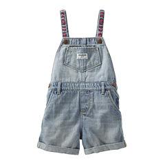 OshKosh B'gosh® Embroidered Denim Shortalls - Baby Girls 3m-24m