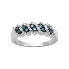 1/3 CT. T.W. White & Color-Enhanced Blue Diamond Band 10K White Gold