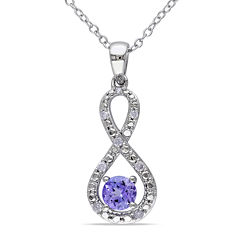 Genuine Tanzanite and Diamond Infinity Pendant Necklace
