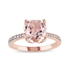 Cushion-Cut Genuine Morganite and Diamond-Accent 10K Rose Gold Ring