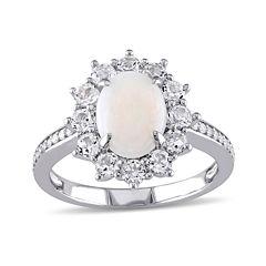 Round Genuine Opal, White Topaz and 1/10 CT. T.W. Diamond Starburst Ring