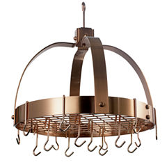 Old Dutch Satin Copper Dome Hanging Pot Rack withGrid and 16 Hooks