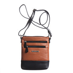 Stone And Co North/South Double Zip Pebble Leather Mini Crossbody Bag
