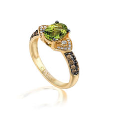 Grand Sample Sale™ by Le Vian® Green Apple Peridot™ &  1/3 CT. T.W. Vanilla Diamonds® and Chocolate Diamonds® in 14k Honey Gold™ Chocolatier® Ring