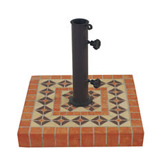 Outdoor Interiors 17 in. Square Terra Cotta Umbrella Base