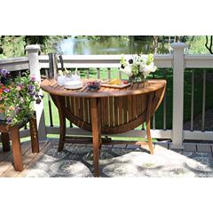 Outdoor Interiors 48 in. Round Brazilian Eucalyptus Folding Table