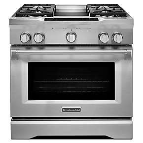 36-Inch 4-Burner with Griddle, Dual Fuel Freestanding Range, Commercial-Style
