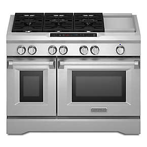 48-Inch  6-Burner with Griddle, Dual Fuel Freestanding Range, Commercial-Style