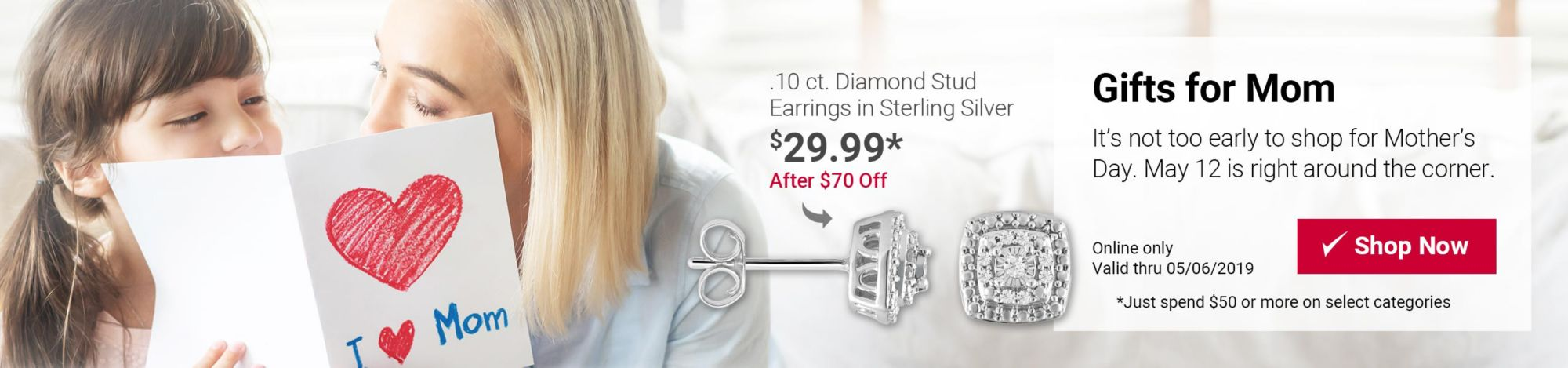 Gifts for mom featured deal: $70 off .10 carat diamond stud earrings in sterling silver after spending $50 or more on select categories. Now $29.99. Click here to shop now.