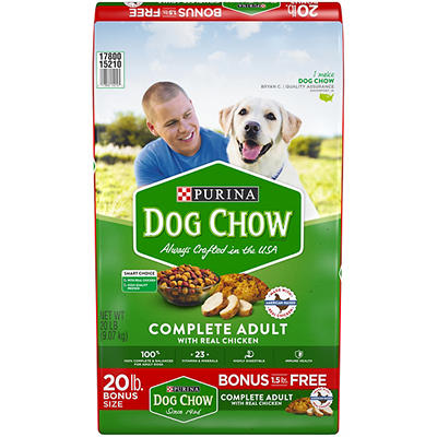 Purina Dog Chow with Real Chicken Complete Adult Dog Food, 20 lbs.