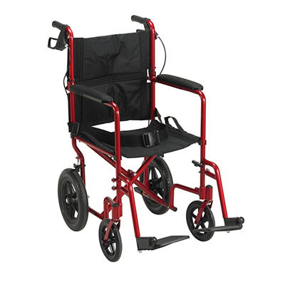 Drive Medical Lightweight Expedition Transport Wheelchair with Hand Br