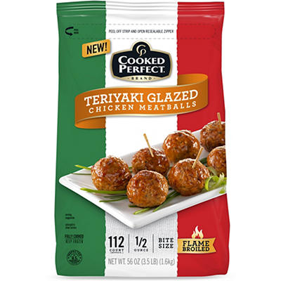 Cooked Perfect Teriyaki Glazed Chicken Meatballs, 3.5 lbs.