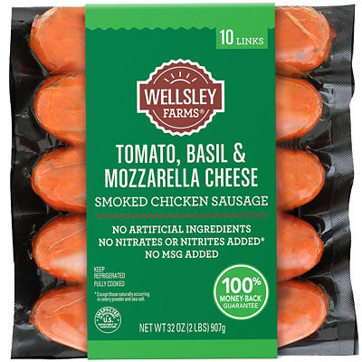 Wellsley Farms Tomato Basil & Mozzarella Cheese Chicken Sausage, 32 oz