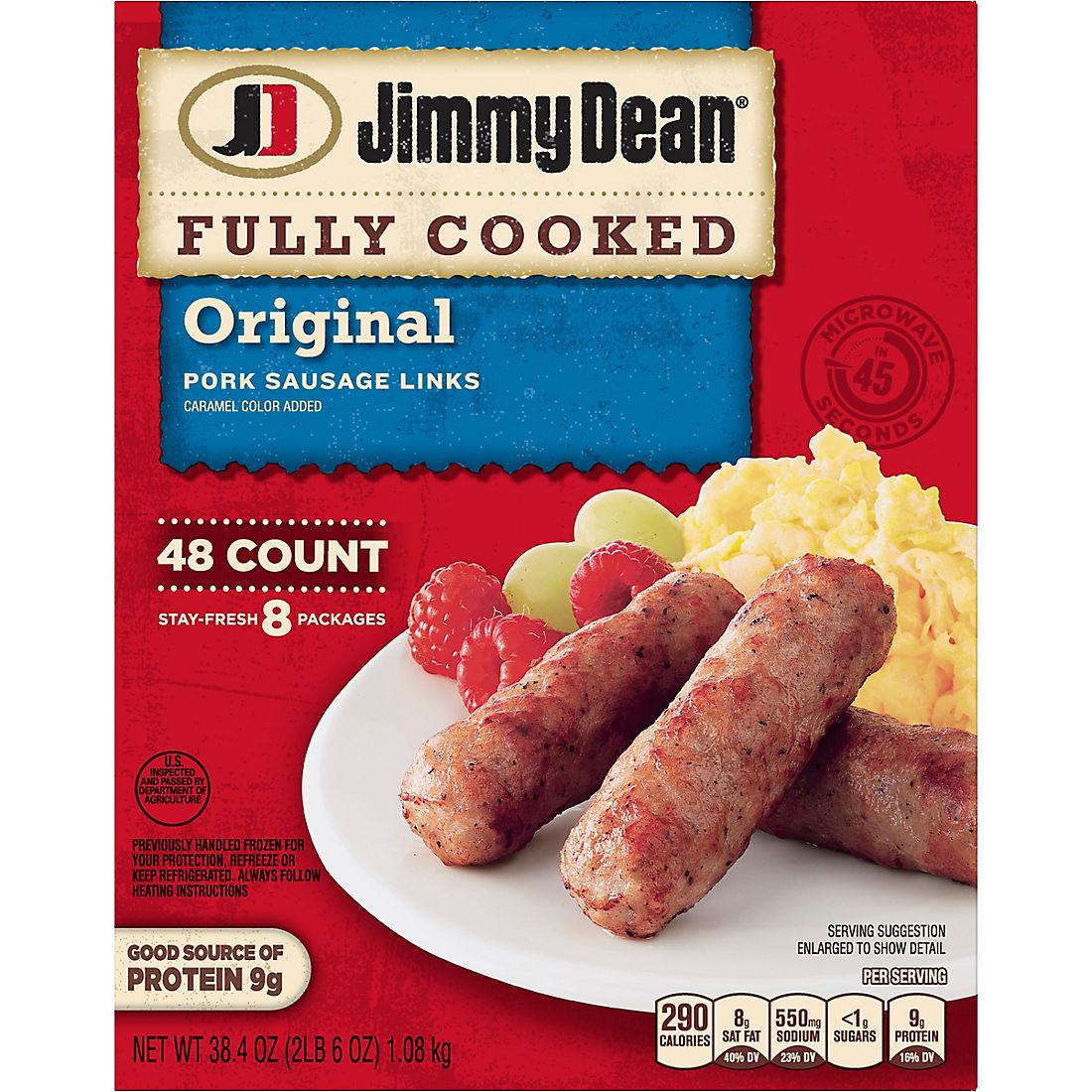 Jimmy Dean Fully Cooked Original Pork Sausage Links, 48 ct
