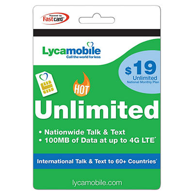 $19 Lycamobile Unlimited National Monthly Plan Gift Card