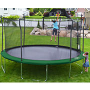 Propel Trampolines 15' Round Trampoline and Detachable Basketball Hoop, Mister and Enclosure -Green