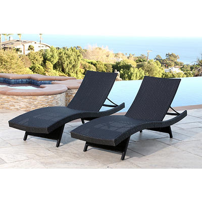 Abbyson Living Alesso Outdoor Chaise Lounges, 2 pk. - Black