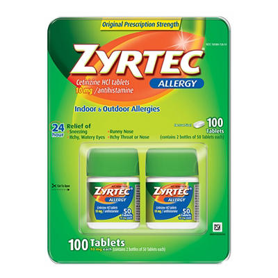 Zyrtec Prescription-Strength Allergy Medicine 10mg Tablets With Cetiri