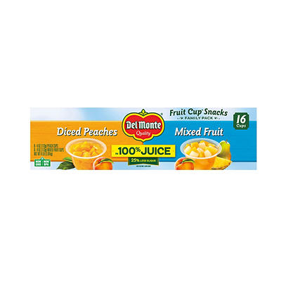 Del Monte Diced Peaches and Mixed Fruit Cups, 16 pk./4 oz.