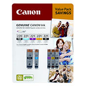 Canon PG-220 and CL-221 Combo Ink Cartridges, 5 Pack