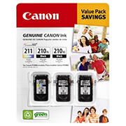 Canon PG-210XL and CL-211 Combo Ink Cartridges, 3 Pack