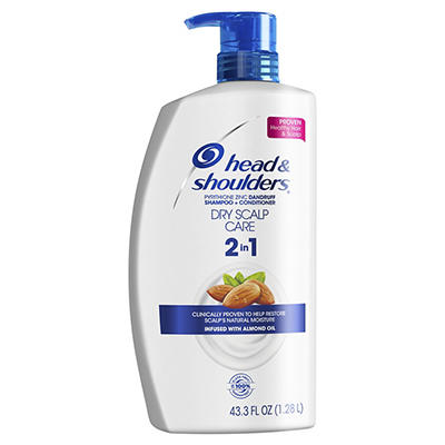 Head & Shoulders 2-in-1 Dry Scalp Care with Almond Oil Anti-Dandruff Shampoo and Conditioner, 43.3 fl. oz.