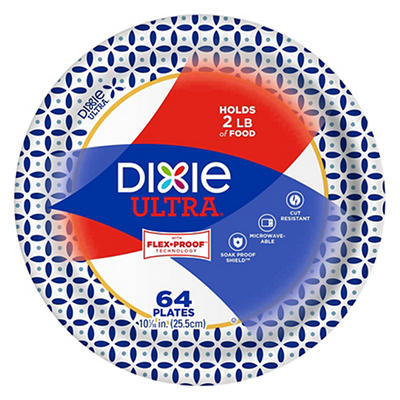 "Dixie Ultra 10"" Paper Plates, 64 ct. - Flower Power"
