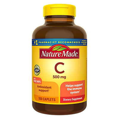 Nature Made 500mg Vitamin C with Rose Hips Caplets, 550 ct.