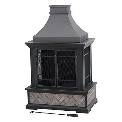 Sunjoy Kingston Outdoor Fireplace - Gray/Black