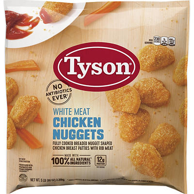 Tyson Frozen All Natural White Meat Chicken Nuggets, 5 lbs.