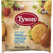 Tyson Frozen All Natural White Meat Panko Breaded Chicken Patties, 5 lbs.