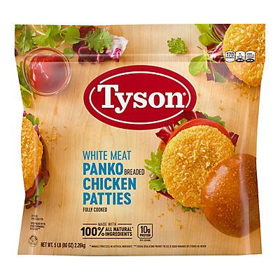 Tyson Frozen All Natural White Meat Panko Breaded Chicken Patties, 5 lbs.