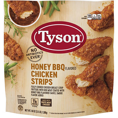 Tyson Frozen Fully Cooked Honey BBQ Chicken Strips, 3.5 lbs.