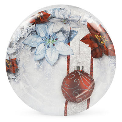 """Artstyle 7"""" Plates, 75 ct. - Shimmering Poinsettia"""