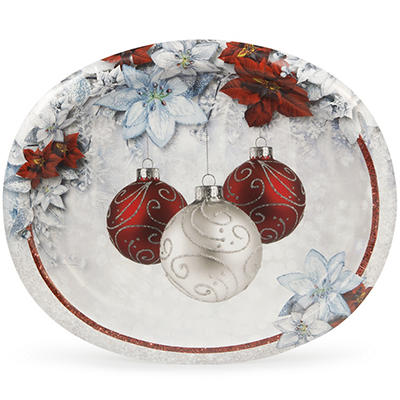 """Artstyle 10"""" x 12"""" Plates, 35 ct. - Shimmering Poinsettia"""