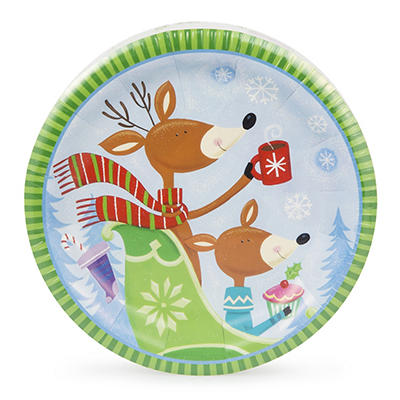 """Artstyle 7"""" Plates, 75 ct. - Playing in the Snow"""