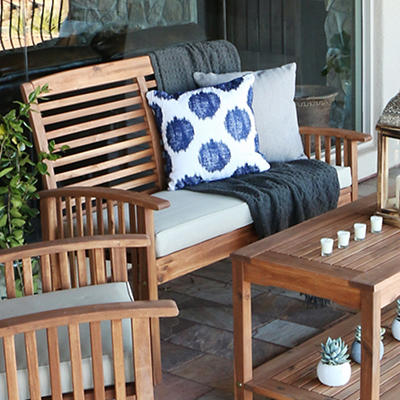 W. Trends Acacia Patio Loveseat Bench - Brown