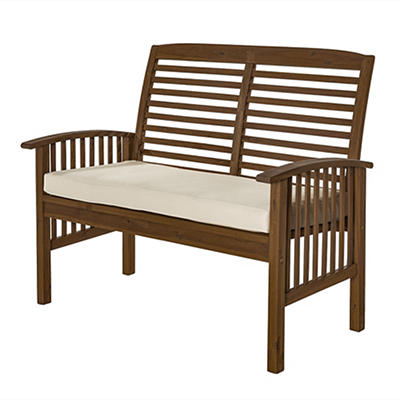 W. Trends Acacia Patio Loveseat Bench - Dark Brown