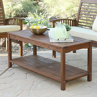 W. Trends Acacia Wood Patio Coffee Table - Dark Brown
