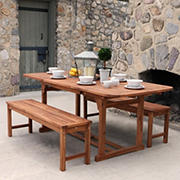 W. Trends 3-pc Outdoor Hunter Acacia Wood Picnic Dining Set - Brown