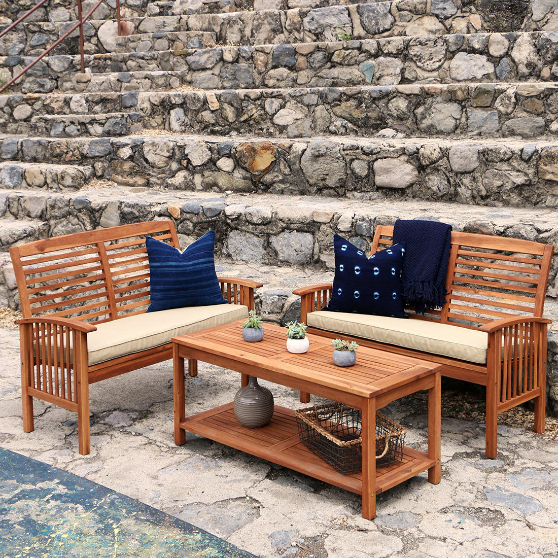 Outstanding W Trends 3 Pc Acacia Conversation Patio Set Brown Unemploymentrelief Wooden Chair Designs For Living Room Unemploymentrelieforg
