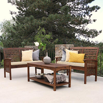 W. Trends 3-Pc. Acacia Conversation Patio Set - Dark Brown