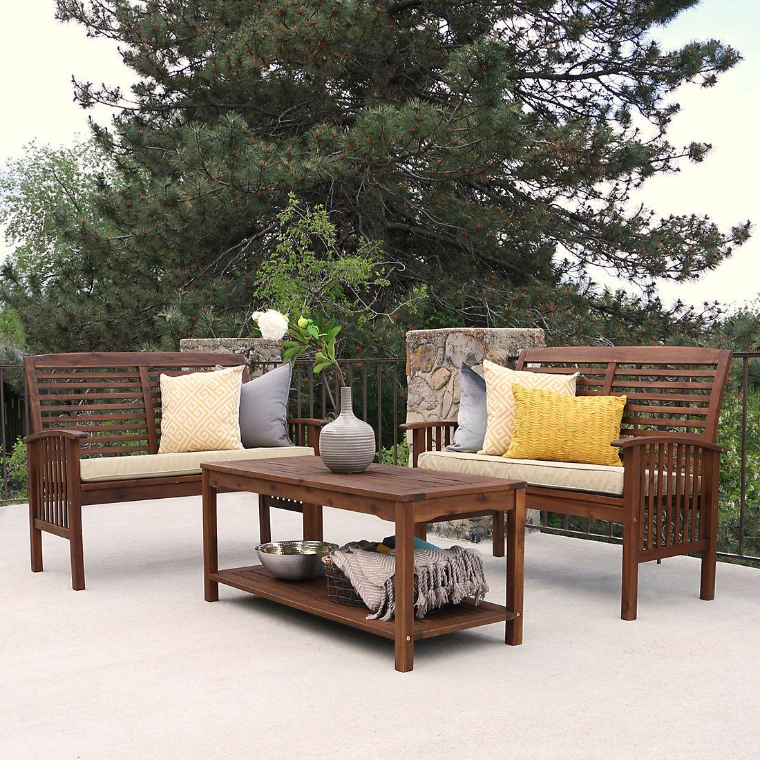 Superb W Trends 3 Pc Acacia Conversation Patio Set Dark Brown Unemploymentrelief Wooden Chair Designs For Living Room Unemploymentrelieforg